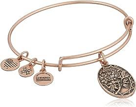 Alex and Ani Because I love you, Mom II Expandable Rafaelian Rose Gold Finish Bangle Bracelet, 0.65 x 1-Inches