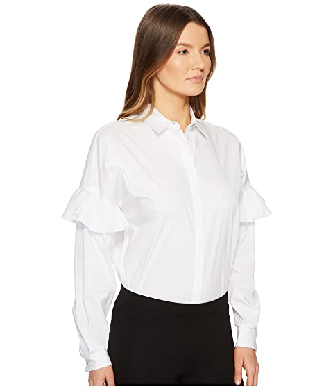 Clearance Ebay Versace Jeans Shirt Button Up w/ Ruffle Sleeves White Cheap Really Browse Cheap Price WP363xnWpo