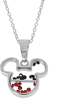Disney Women's and Girls Jewelry Mickey or Minnie Mouse Sterling Silver Crystal Head Silhouette Shaker Pendant,18