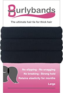Burlybands Large Hair Ties for Thick Heavy or Curly Hair. No Slip No Damage Seamless Ponytail Holders Scrunchies Sports Thick Hair Ties (Black 3 Pcs)