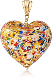 Ross-Simons Italian Murano Glass Heart Pendant in 18kt Gold Over Sterling