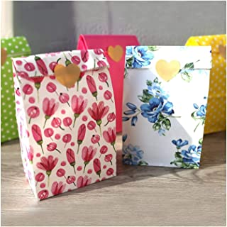 Paper bag, Stand up Colorful Bags,Cookie Gift Packing Bag Birthday Party Favor Stand Bags 12pcs/lot (Color : Rose red dot,...