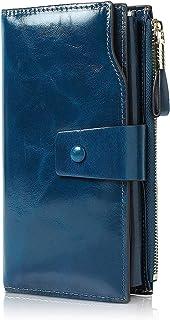 Demon&Hunter Portafoglio Donna Grande Pelle RFID Portamonete Donna Borsa Clutch Portamonete in Pelle con 21 Scomparti Port...