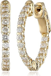 AGS Certified Brilliant-Cut Diamond Inside and Outside Lucida-Set Round Hoop Earrings in 14K White or Yellow Gold (I-J Color, I1 Clarity) - Choice of Carat Weights