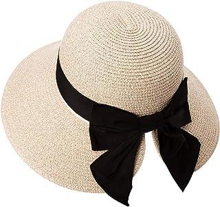 SIGGI Womens Floppy Summer Sun Beach Straw Hat UPF50 Foldable Wide Brim 56-58cm