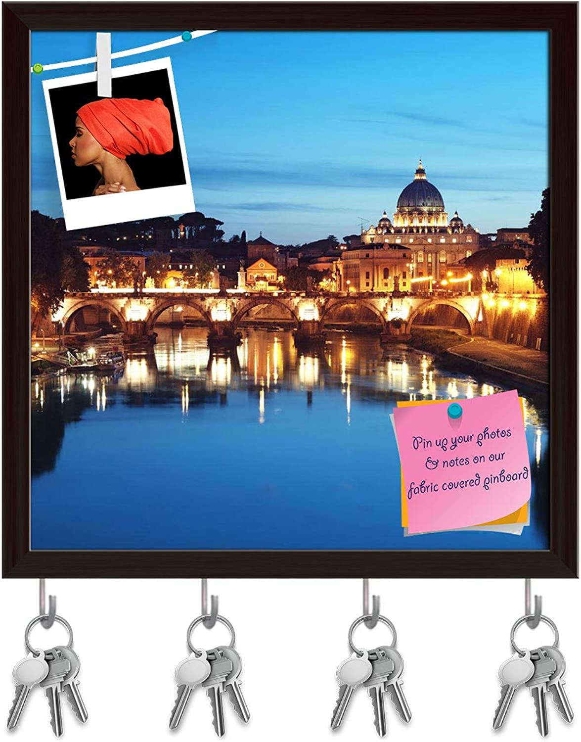 Artzfolio St Peter Basilica, Rome  Key Holder Hooks   Notice Pin Board   Dark Brown Frame 20 X 20Inch