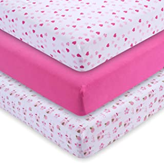 M&Y Fitted Crib Sheets (3-Pack), Girls, 52x28x9 in