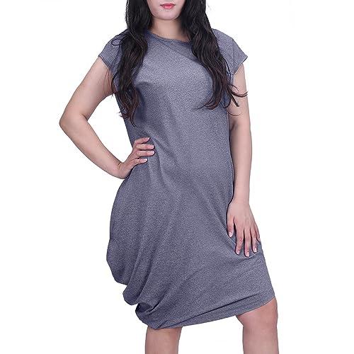 9e2c71f2410 HDE Plus Size Womens Dress Casual Below Knee Asymmetrical Hem Smooth Draped  Side