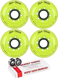 Labeda Inline Roller Hockey Skate Wheels Addiction Yellow 76mm 4 Set Bones Swiss