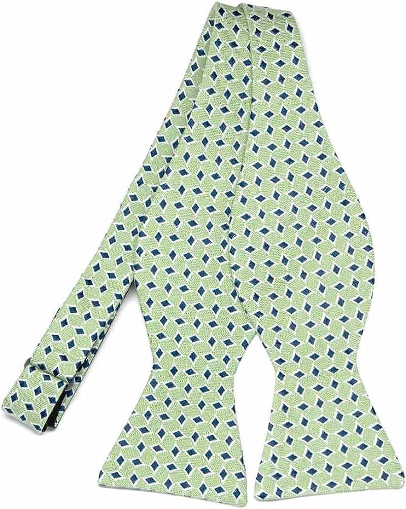 TieMart Regent Morris Neckwear Mint Green Emperor Diamond Linen/Silk Self-Tie Bow Tie