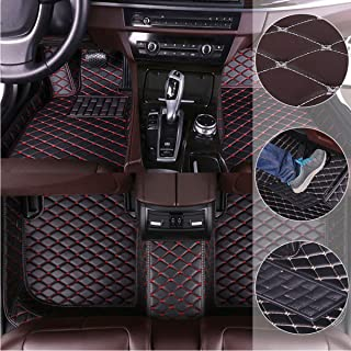 Car Floor Mats for Kia Cerato 2012-2016 Custom Leather mat Full Surrounded Cargo Liner All Weather Protection Waterpoof Non-Slip Set Left Drive Black and Red