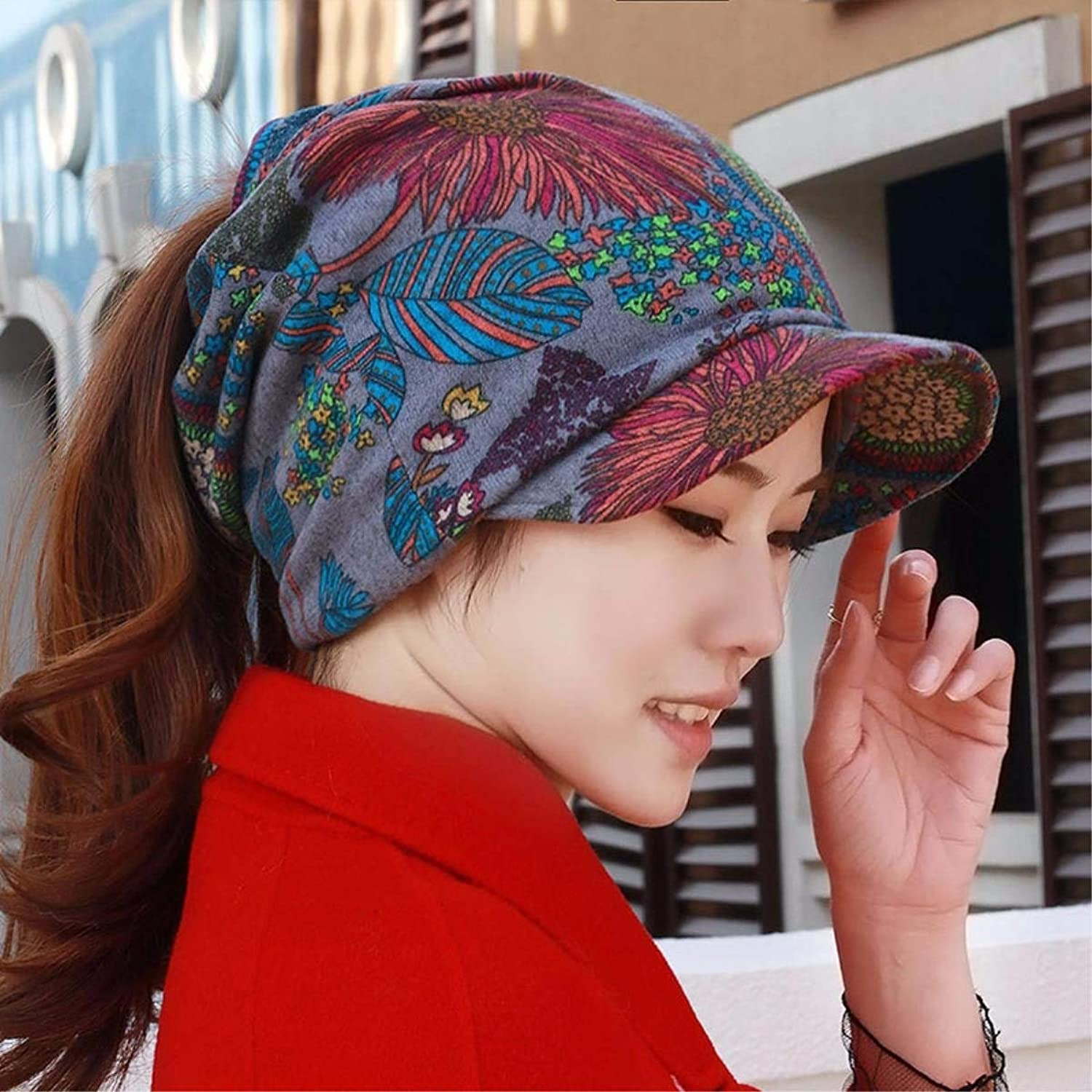 Beach Hat Hat Female Spring National Wind Cap Crushed Flower-Horse Tail Cap Peaked Cap Cycling Basin Cap Storehouse of Head Cap Ear Cap Summer Sun Hat (color   The blueee)