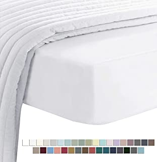 Pizuna 400 Thread Count Cotton King Fitted Sheet White, Luxury Soft 100% Long Staple Cotton Sateen Fitted bed Sheets King ...