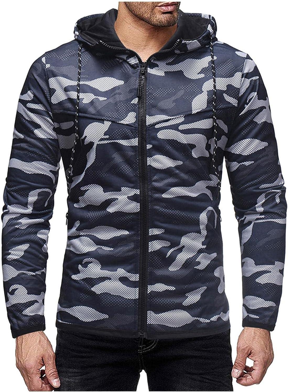 Aayomet Sweatshirts for Men Winter Loose Camouflage Zipper Long Sleeved Hoodies Casual Cardigan Sweater