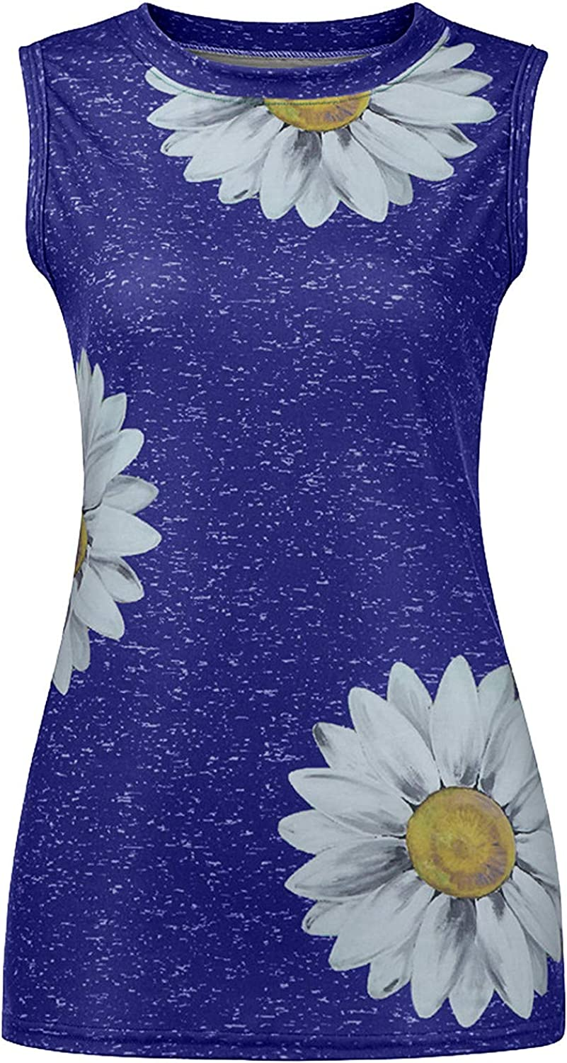 Wocachi Tank Tops for Women, Sunflower Print Sleeveless Round Neck Vest T-Shirts Plus Size Summer Graphic Blouse