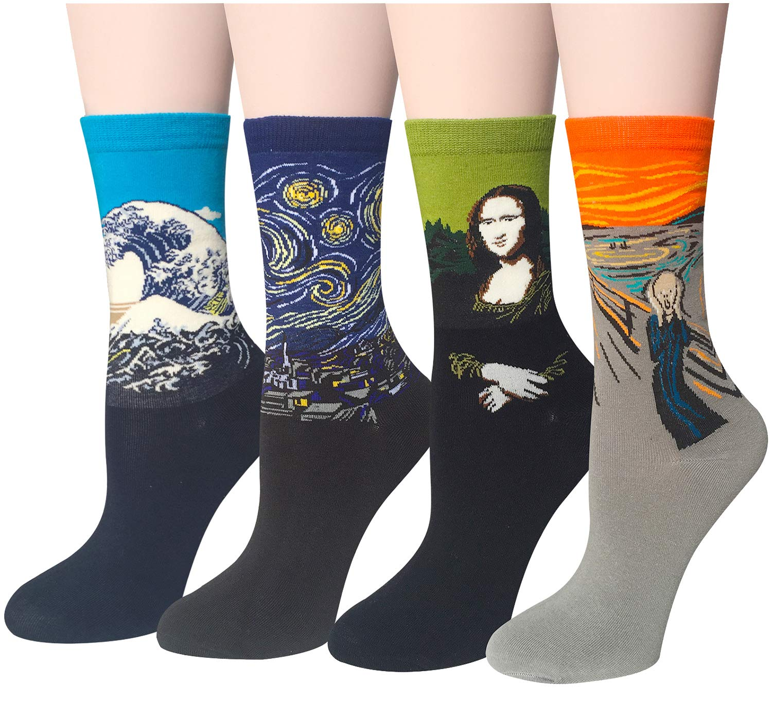 Chalier 5-6 Pairs Womens Funny Socks Vintage Cotton Crew 5 Pairs Funny Socks 01