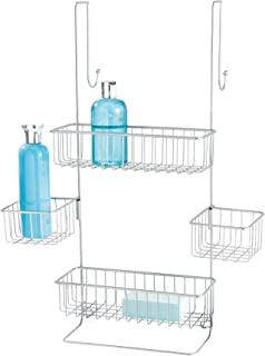 iDesign Metalo Metal Bathroom Over the Door Shower Caddy with Storage Baskets Shelves for Shampoo, Conditioner, Soap, Loofahs, Hand Towels, 10.5