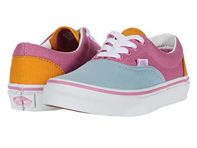 Vans Kids Era (Little Kid) ((Color Block) Fuchsia Pink/True White) Girls Shoes
