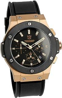[HYAKUICHI 101] 腕時計 ウォッチ 100m防水 クロノグラフ 日付表示 ラバーベルト ブラック×ピンクゴールド メンズ