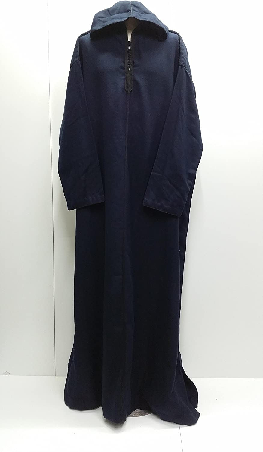 Size 64 Men Mgoldccan Wool Hooded Long Sleeves thobes.Wool Thobe- Navy bluee