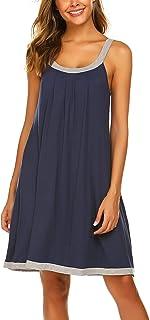 Ekouaer Wide Strap Chemise Full Slip Nightgowns Women Sleeveless Sleepwear Plain Dress
