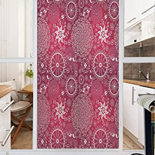 Decorative Window Film,No Glue Frosted Privacy Film,Stained Glass Door Film,Bohemian Stylized Vintage Flower and Anatolian Turkish Featured Pattern,for Home & Office,23.6In. by 59In White Magenta