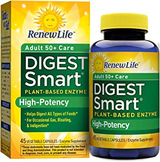 Renew Life Adult Digestive Enzyme - DigestSmart Adult 50+ Care Enzyme Supplement - Dairy Free - 45 Vegetarian Capsules