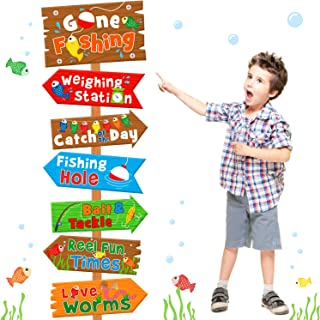 Huray Rayho Gone Fishing Party Directional Welcome Signs The Big One Backyard Door Cutouts Summer Birthday Party Favor Ide...