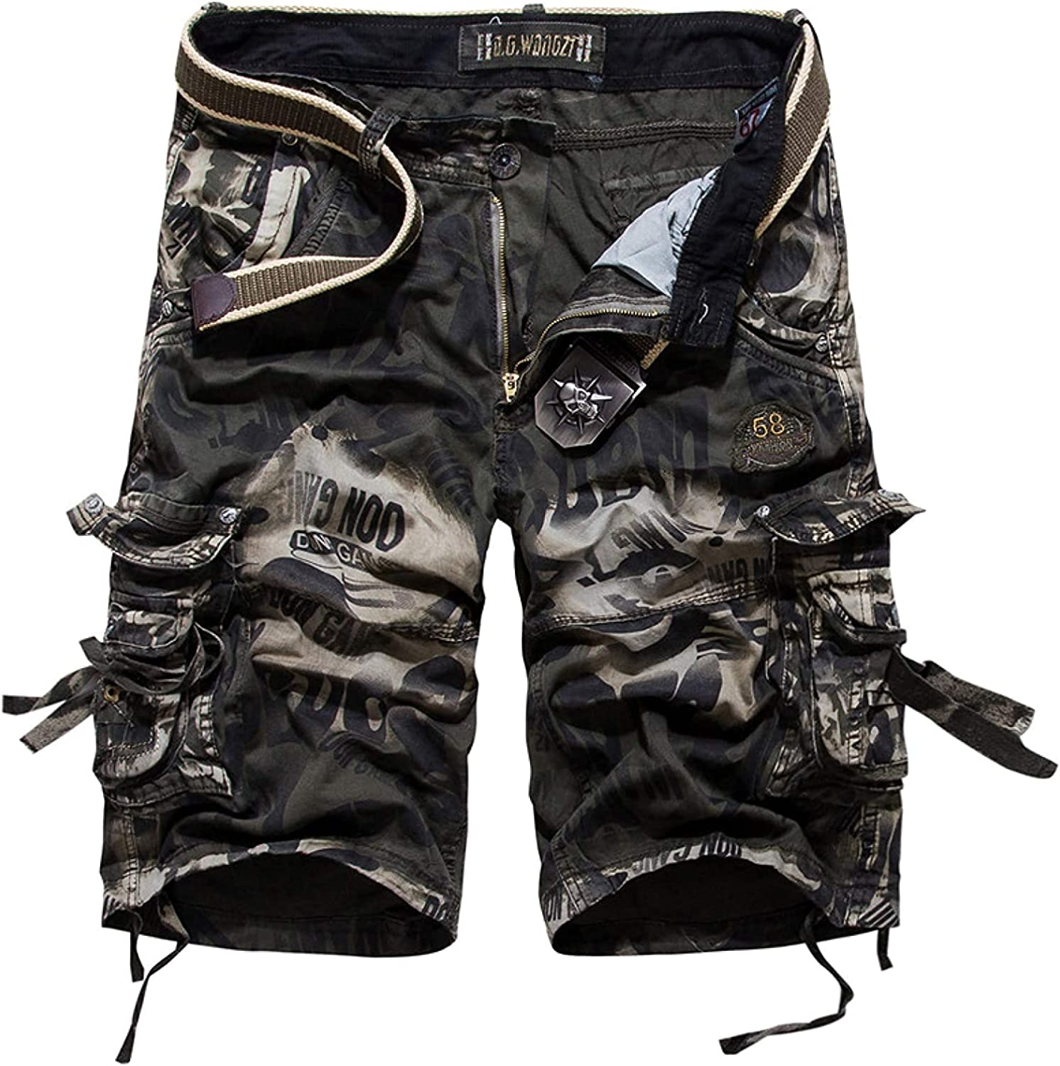Fllaees Men's Camouflage Cargo Shorts Trend Personality Outdoor Combat Work Streetwear