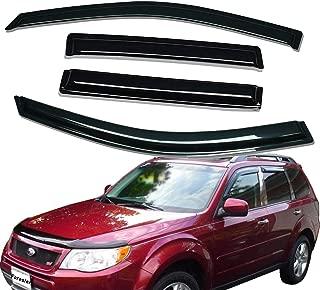 Lightronic WV94089 Tape-on Window Visors Rain Guards Smoke Tint 4PCS Set Fit for 2009-2013 Subaru Forester