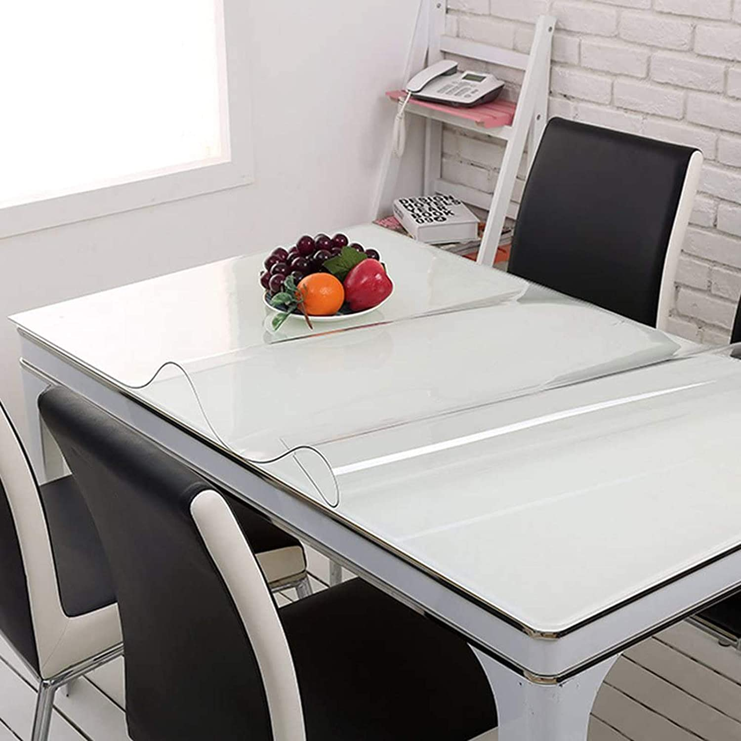 Waterproof Soft Glass Transparent Table Protector Cover Crystal Clear PVC Tablecloth Oilcloth Waterproof Fabric Table Protector seveni Clear PVC Tablecloth 50x50cm//19.69x19.69in