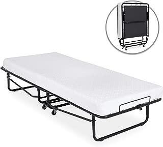 Best Choice Products Folding Rollaway Cot-Sized Mattress Guest Bed w/ 3in Memory Foam, Locking Wheels. Steel Frame, Black
