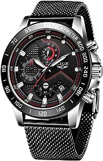 LIGE Men Watches Stylish Elegant Waterproof Blue Analog Quartz Stainless Steel Wrist Watches for Men Military Chronograph Sports Multifunction Mesh Band Watch