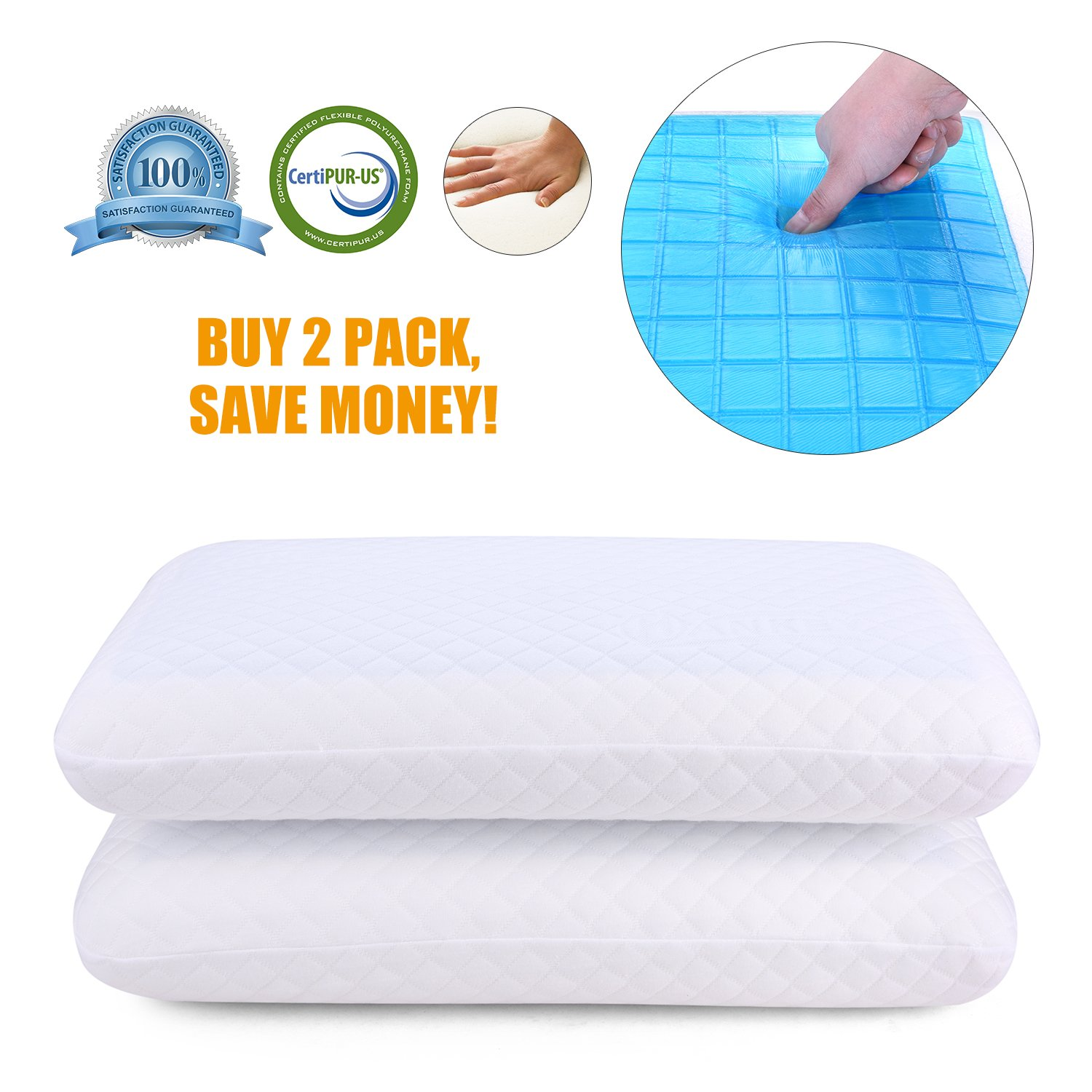 2 Pack Memory Foam Pillow with Cooling Gel– Orthopaedic Neck & Back Support, Soft & Comfortable Design, Washable Cover, Hypoallergenic Double Sided