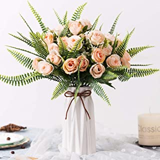 YILIYAJIA Artificial Silk Rose with Vase,30 Head Flowers Bulk Wedding Bouquets with Ceramic Vase Centerpieces for Decoration Table (Champagne Pink)