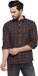 Cantabil Men's Brown 100% Cotton Slim Fit Casual Shirt