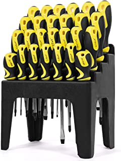 Stark 26-piece Screwdriver with Stand Slotted Philips Pozi Star Organizing Set Magnetic Tip Screw Driver with Rack