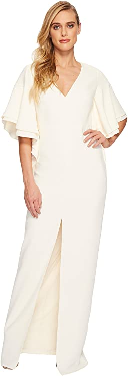 Halston Heritage - V-Neck Gown w/ Flounce Sleeve