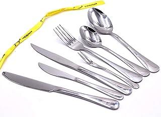 28 Piece Flatware Set - Dishwasher Safe Silverware Tableware Stainless Steel Heavy Duty Heavy Weight Elegance Design Cutle...