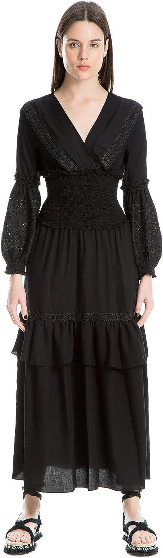 Max Studio London Womens Ruffled Eyelet Maxi Dress Black L