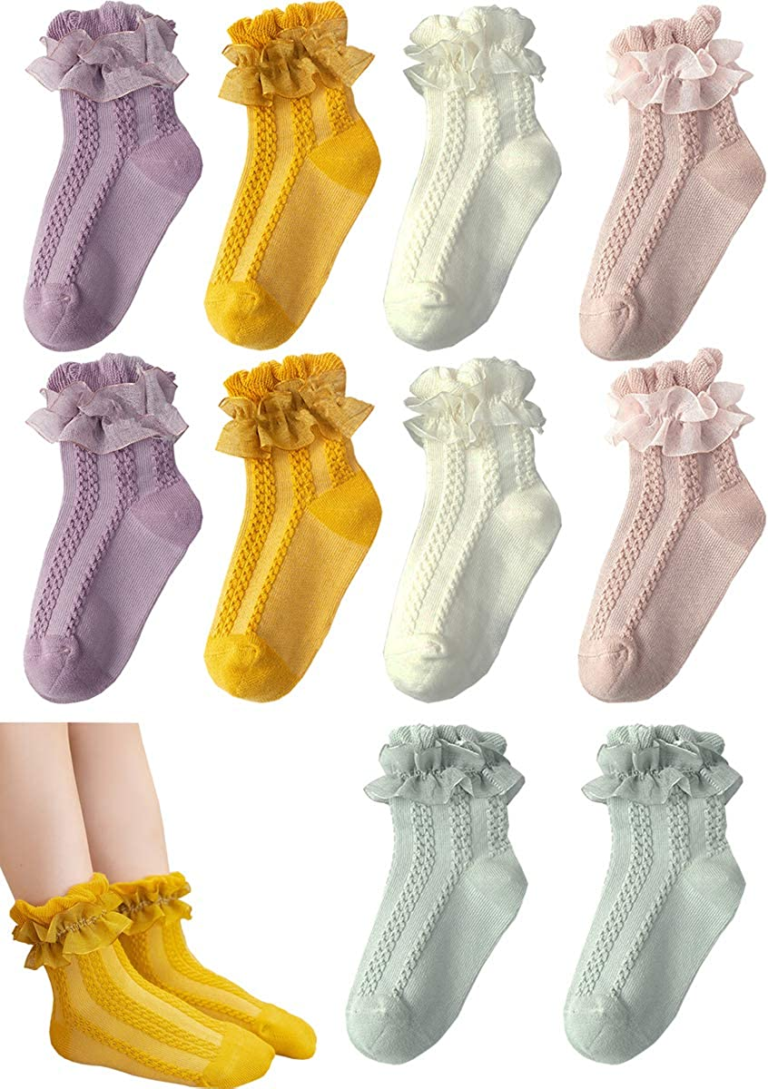 FYLuoke 10 Pairs Baby Girls Toddler Ruffle Socks Kids Frilly Lace Flower Cotton Ankle Dress Sock(0-3T)