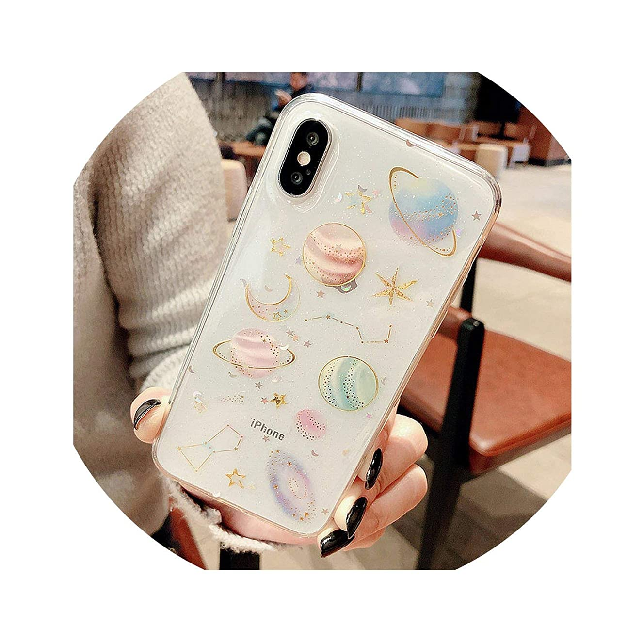 Luxury Glitter Cute Space Planet Phone Case for iPhone X XR XS MAX 7 8 Plus Clear Soft Silicone Back Cover for iPhone 6 6S 7Plus,Transparent,for iPhone 6 6S saqxhyxuzi3136