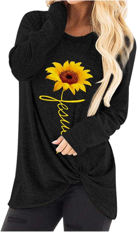 POTO Fresno Mall Women Tunic Tops Long Sweatshirt Printed Max 84% OFF Tw Pullover Sleeve