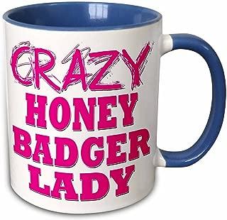 3dRose 175109_6 Crazy Honey Badger Lady Two Tone Mug, 11 oz, Blue