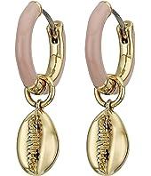 Puka Shell Enamel Huggie Hoop Earrings