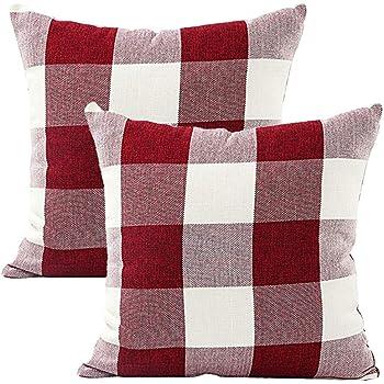 JOTOM Fundas de Almohada de Lino,Fundas de Cojín Home Sofa Fundas de Almohadas de Coche 45 x 45cm,Conjunto de 2 (A Cuadros | Rojo Blanco): Amazon.es: Hogar