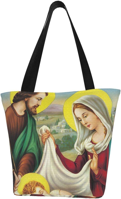 Holy Birth Jesus Vintage Garden Themed Printed Women Canvas Handbag Zipper Shoulder Bag Work Booksbag Tote Purse Leisure Hobo Bag For Shopping