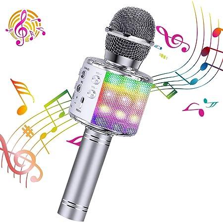 Pink Microphone with Adjustable Selfie Stick for Kids Portable Handheld Karaoke Home Christmas for Smartphone