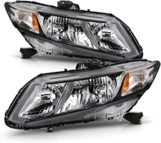 ACANII - For 2012-2015 Honda Civic Sedan 12-13 Coupe Hadlights Headlamps Assembly Front Pair Set Driver & Passenger Side