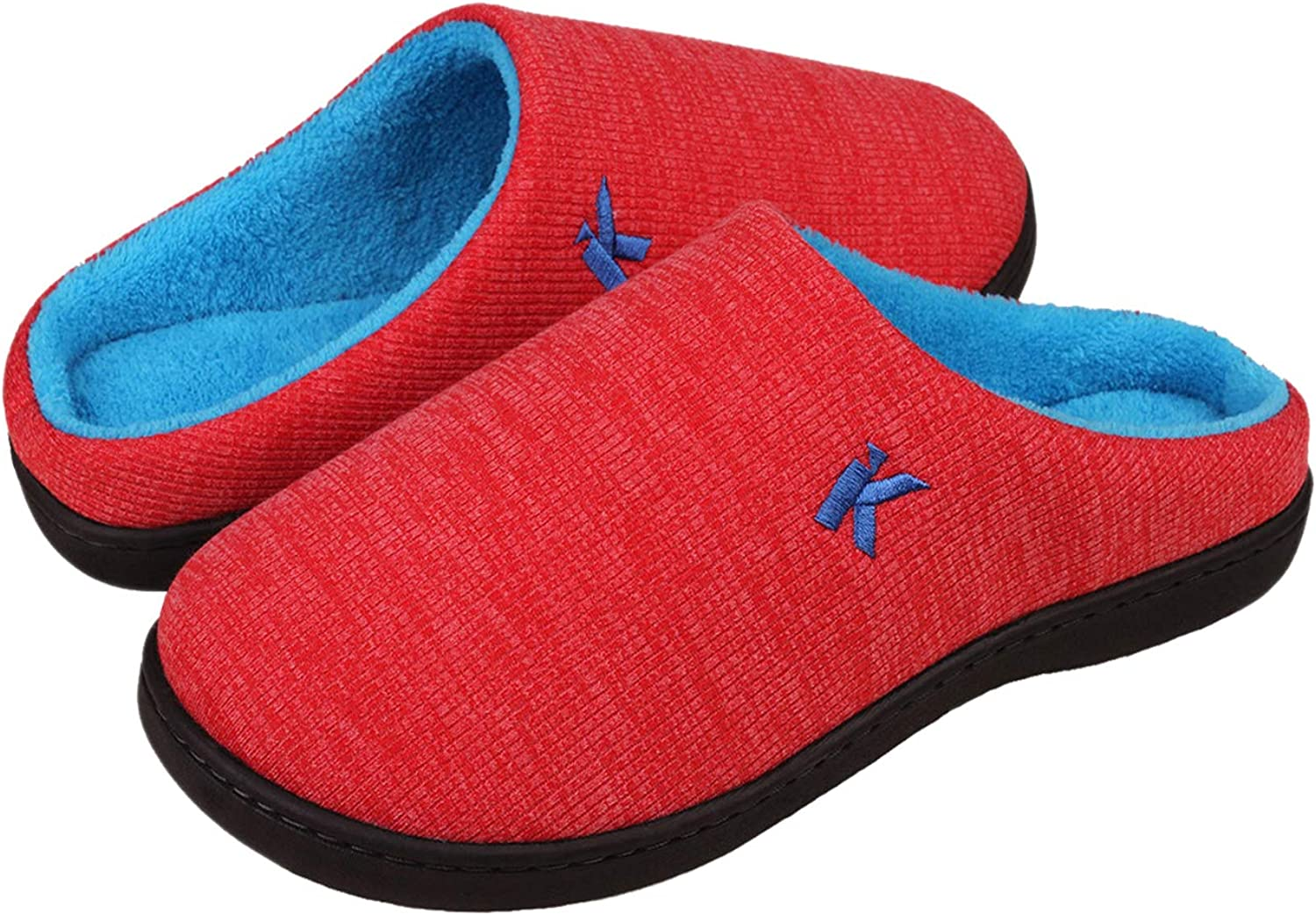 Kunsto Women's Cozy House Slippers Knitted Cotton Home shoes with Memory Foam for Indoor Outdoor